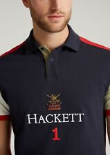 New Hackett Army Polo T-shirt Navy White Red Medium Classic Fit