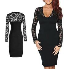 Women Lace Floral Maxi Long Sleeve V-neck Bodycon Cocktail Mini Evening Dress YV