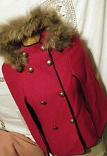 WONDERFUL Sortmont Womens Red Wool Cape Coat Small Detachable Hood Fur Trim