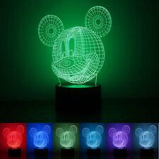 Mickey Mouse 3D LED Night Lamp 7 Colors USB Hologram Decor Table Desk Light