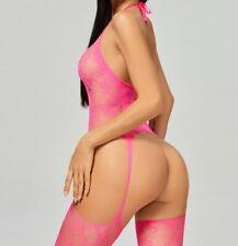 Women Sexy Fishnet Body Stockings Halter Backless Floral Underwear Pink 89721