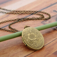 Oval Carved Flower Locket Pendant Necklace Women Vintage Photo Box Jewelry Gift