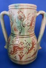 Tito Ubeda Spanish Pottery Twin Handle Vase Butterflies , insects