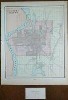 "Vintage 1900 COUNCIL BLUFFS IOWA Map 11""x14"" Old Antique Original OMAHA OAKLAND"