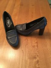 TOD'S Womens Penny Loafer Heels Blue Grey NWOB 35.5 GORGEOUS
