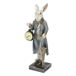 Relojes de Mesa Estatuilla De Conejo Con Frac Conejo Reloj En Mano