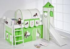 Lit mezzanine de massif avec tour et toboggan NEUF 4105 enfants Lilo Cheval Vert