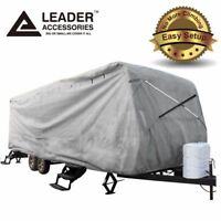 New Easy Setup Travel Trailer RV Cover Fits Camper 20'-22' with Assist Pole