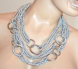 COLLANA ARGENTO anelli metallo donna strass girocollo fili perline collier S3