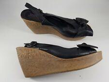 Jones size 7 (40) black leather buckle slingback peep toe platform wedge heels