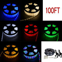 100FT Xmas LED Rope Light 110V 2-Wire Yard Home Party Decorative Lighting New