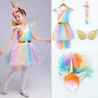 Unicorn Halloween Costume Cosplay Kids Girls Tulle Dress Headband Wing Outfits