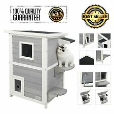 Outdoor Cat Shelter House Condo Escape Door Bed Indoor Kitten Weather Resistant