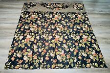 Waverly Harbor Square Floral Gingham Check Attached Valance Shower Curtain Black