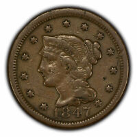 1847 1c Braided Hair Large Cent - VF Coin - SKU-Y2767