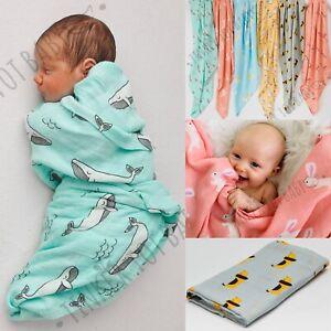 Large Baby Newborn Swaddle Boy Girl Bamboo Muslin Wrap Sleeping Bag Blanket AUS!