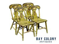 19TH C ANTIQUE SHERATON FANCY PAINT DINING CHAIRS IN BITTERSWEET GREEN PAINT