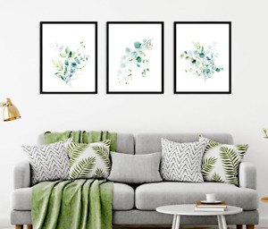 Eucalyptus Wall Art Prints Set of 3 Botanical Leaves Art Decor Green & Gold Line
