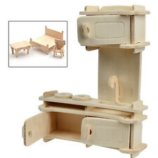 34Pcs Dollhouse 3D Furnitures Puzzle Scale Miniature Models Accessories DIY Set
