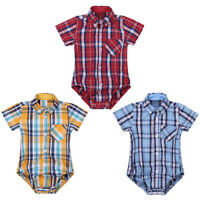 Baby Boys Gentleman Clothes Girls Short/Long Sleeve Plaid Shirt Romper Bodysuit