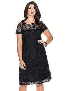 Ladies Ornate Black Knee Length Cocktail Dress- UK Size 32- NEW