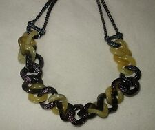 Marc Jacobs Horn Hematite Curb Link LG Candy Turnlock Necklace NEW