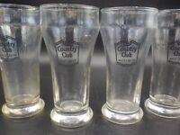 4 Vintage Country Club Premium Malt Liquor Beer Sham Bar Glass Advertising