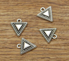 50 Triangle Geometry Metal Bulk Charm Earring Charms Antique Silver 16x15 2317