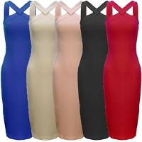 Ladies Sexy Crossover Strappy Midi Bodycon Pencil Dress Bandage Party Scuba