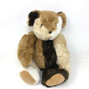 "Vermont Teddy Bear Patchwork Tan Brown Jointed Frankenbear 16"" Stuffed Animal"