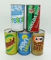 5 Vtg Steel Soda Cans -Fresca, Canada Dry, Squirt, Pepsi Light, A&W Root Beer