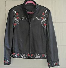 Collezione SA-Soft Black Leather Moto Zip Jacket-Floral Embroidery-X-XL-0X
