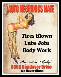 AUTO MECHANICS MATE CAR GARAGE WORKSHOP PIN UP GIRL METAL PLAQUE TIN SIGN N353