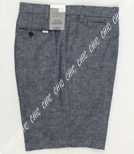 Marks & Spencer Mens Linen Blend Tailored Fit Chambray Chino Shorts Indigo BNWT