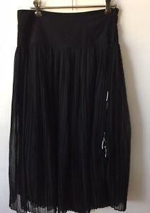 Black Pleated Boho Flannel Designer Skirt Size 6
