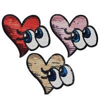 Sparkle Glitter Heart Eyes Iron on Patches Embroidered Badge Applique patch FT