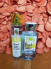 bath and body works beach water coconut shower gel & fine fragrance mist