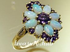 R278 Genuine 9ct Yellow Gold Natural Amethyst & Opal Blossom Cluster Ring size M