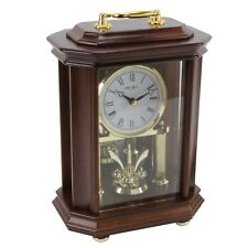 TRADITIONAL ANNIVERSARY STYLE WOOD MANTEL CLOCK WITH PENDULUM.NEW.WOODEN MANTLE