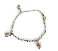 "Cute Silver Tone Bracelet with Dangly Crystal Charms 7"" in Length"
