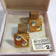 Vintage cufflinks Russian jewelry 80s rhinestones gold tone square cufflinks