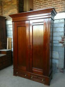 Antique Victorian Walnut Wardrobe / Armoire