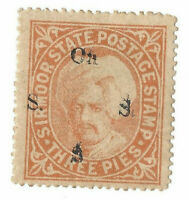 1890 SIRMOOR INDIA STAMP DOUBLE OVERPRINT ERROR