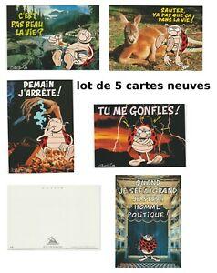 lot de 5 cartes postales neuves, la coccinelle de Gotlib
