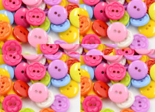 100 Acrylic Sewing Buttons Dyed, Flat Round with Flower Pattern, Mixed  sewing