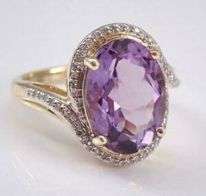 3.30Ct Oval Cut Amethyst Diamond Halo Engagement Ring In 14K Yellow Gold Finish