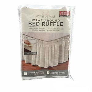 Home Details Dust Ruffle Bed Skirt Queen/King White NEW