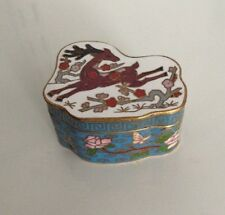 TRINKET/PILL BOX VINTAGE COLLECTIBLE BRASS ENAMELED