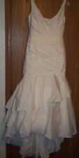 David's Bridal Taffeta Scoop Neck Tiered Mermaid Wedding Dress Size 10 Ivory
