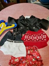 Build A Bear Clothes Lot Leather Jacket, Sweater, Pants And Hangers.